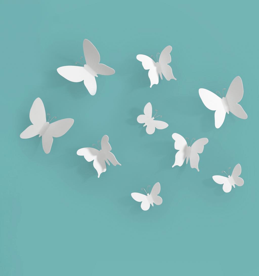 wanddecoratie vlinders wit set van 9 umbra lilnl